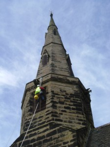 Installation of bird proof meshwork at St Cuthbert's Church, Halsall, in the Diocese of Liverpool