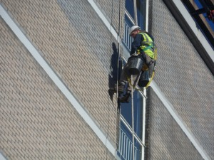 Lightning Protection - We were requested by Harris Lamb Property Consultants of Birmingham to carry out urgent repairs to the Lightning Protection system at a 40m high office block at Middlesex House, Edgware, Middlesex.